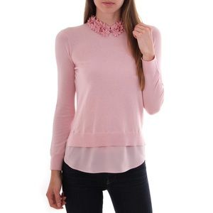 Ted Baker Nansea Floral Collar Sweater in Pink, S